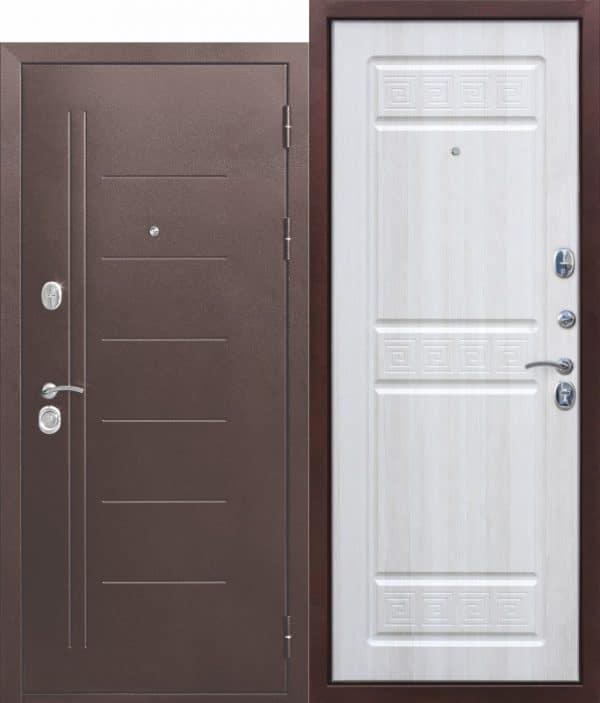 Входная металлическая дверь 10 см Троя Антик Белый Ясень