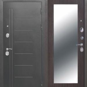 Металлическая дверь 10 см Троя Серебро МАКСИ зеркало Венге