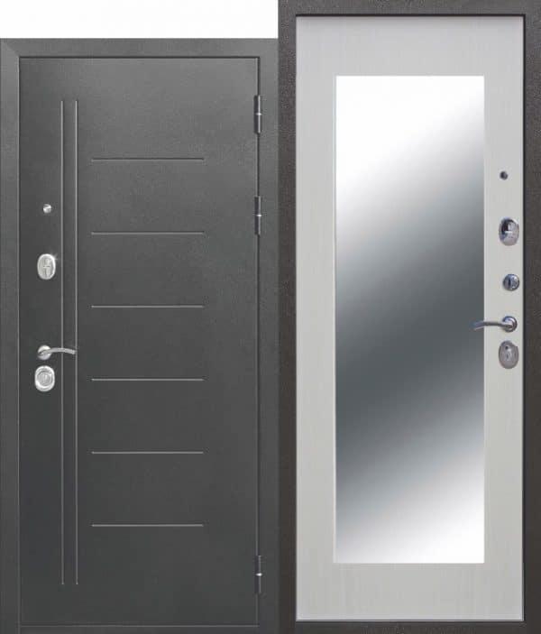 Металлическая дверь 10 см Троя Серебро МАКСИ зеркало Белый ясень