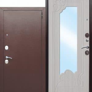 Входная металлическая дверь с зеркалом Ампир Белый ясень