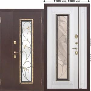 Входная металлическая нестандартная дверь со стеклопакетом Плющ 1200х2050, 1300х2050 Белый ясень