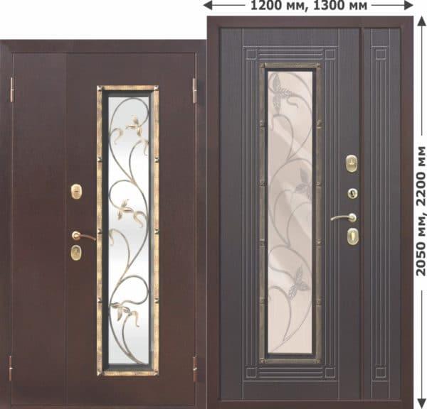 Входная металлическая нестандартная дверь со стеклопакетом Плющ 1200х2050, 1300х2050 Венге
