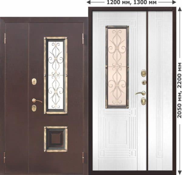 Входная металлическая нестандартная дверь со стеклопакетом Венеция 1200 Белый ясень