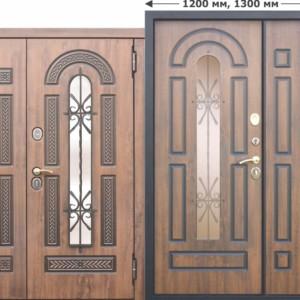 Входная металлическая дверь со стеклопакетом и ковкой Vikont 1200х2050, 1300х2050 Грецкий орех