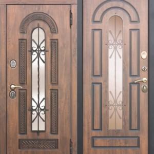 Входная металлическая дверь со стеклопакетом и ковкой Vikont Грецкий орех