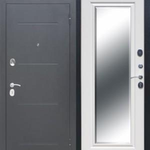 Металлическая дверь 7,5 см GARDA Серебро Зеркало Фацет Белый ясень